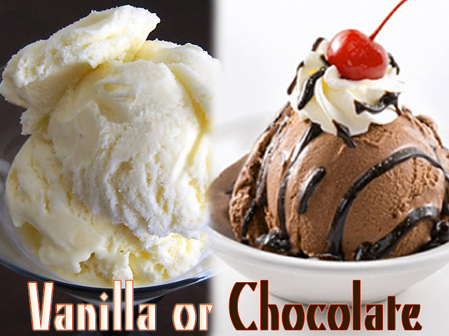 Delicious ice cream: chocolate and vanilla icecream