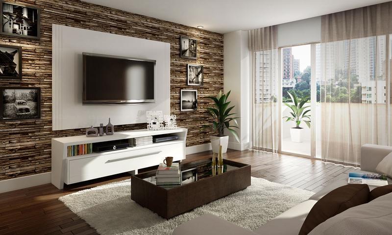 Sala De Estar Marrom E Branco ~  Clean Dúvida de Decoração Cozinha, Lavanderia e Sala de Estar