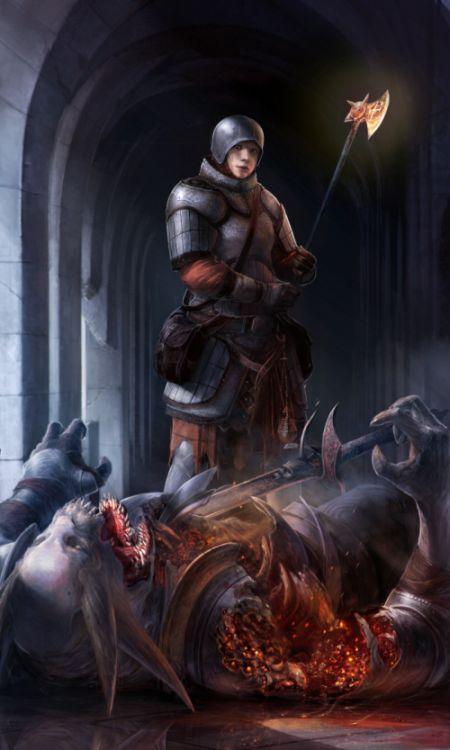 Stepan Alekseev ilustrações digitais fantasia violência Com a benção de Deus