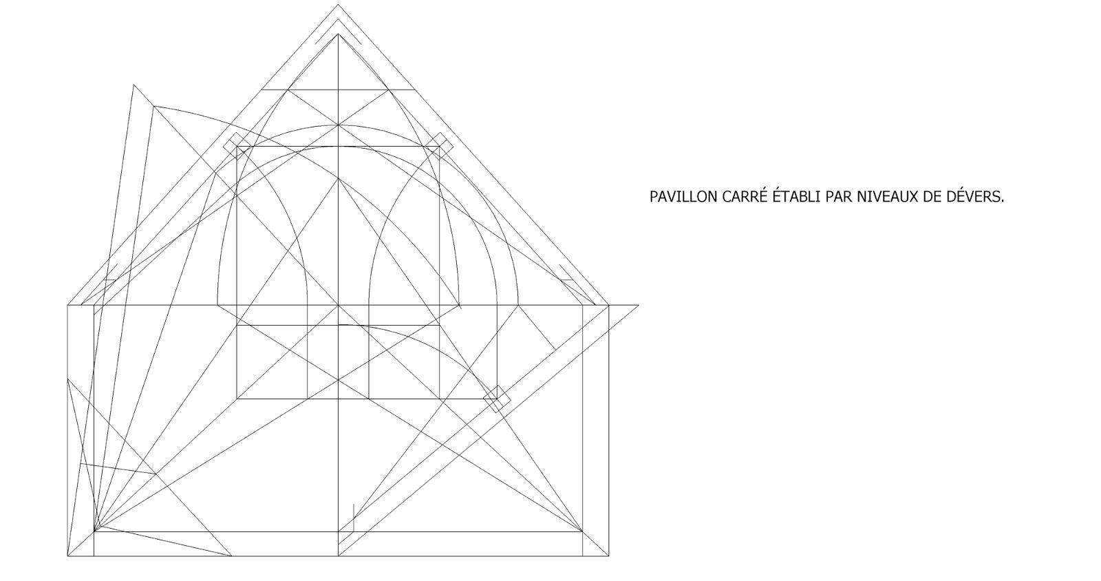 Roof Framing Geometry: PAVILLON CARRÉ ÉTABLI PAR NIVEAUX DE DÉVERS.