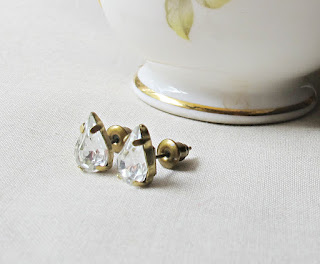 image vintage rhinestone earrings ear studs crystal clear handmade two cheeky monkeys teardrop