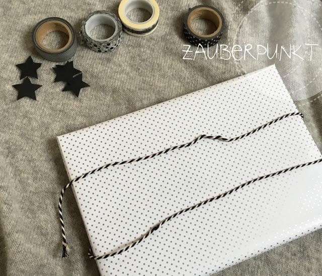 Weihnachten, DIY, Tutorial, Verpacken, Geschenk, Maskingtape, black-white
