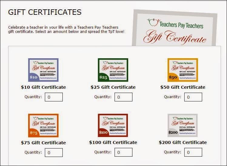 http://www.teacherspayteachers.com/Gift-Certificate