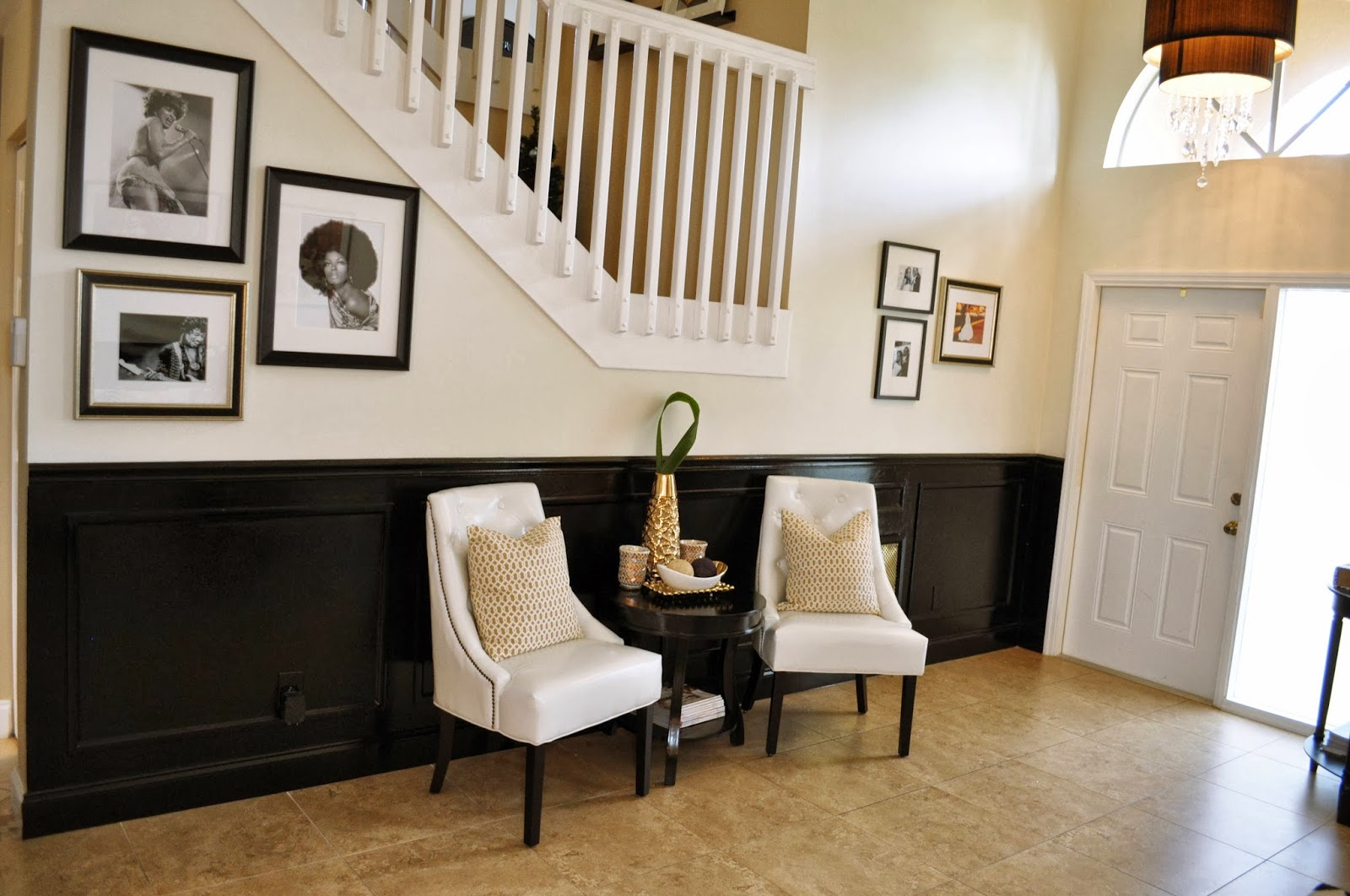 Foyer Seating Area : Live laugh decorate a black white and gold reveal