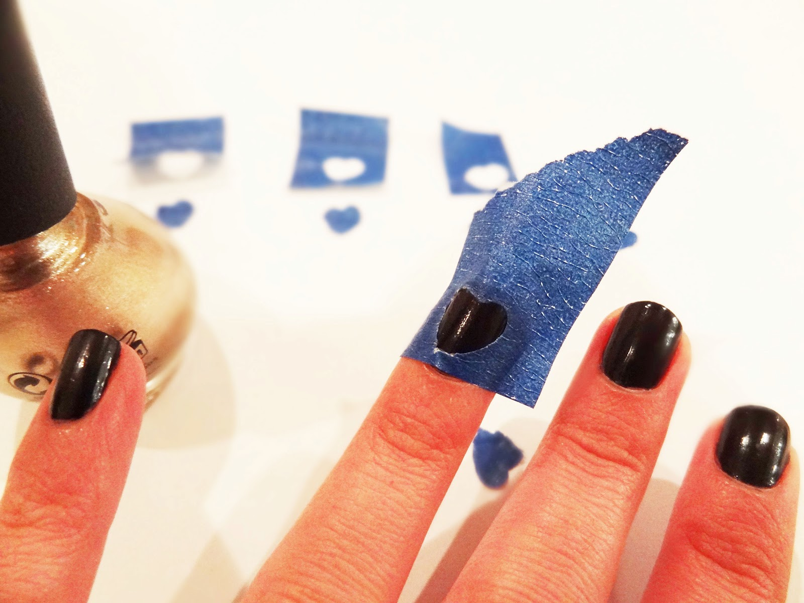 Peel away the tape once nail polish is completely dry:
