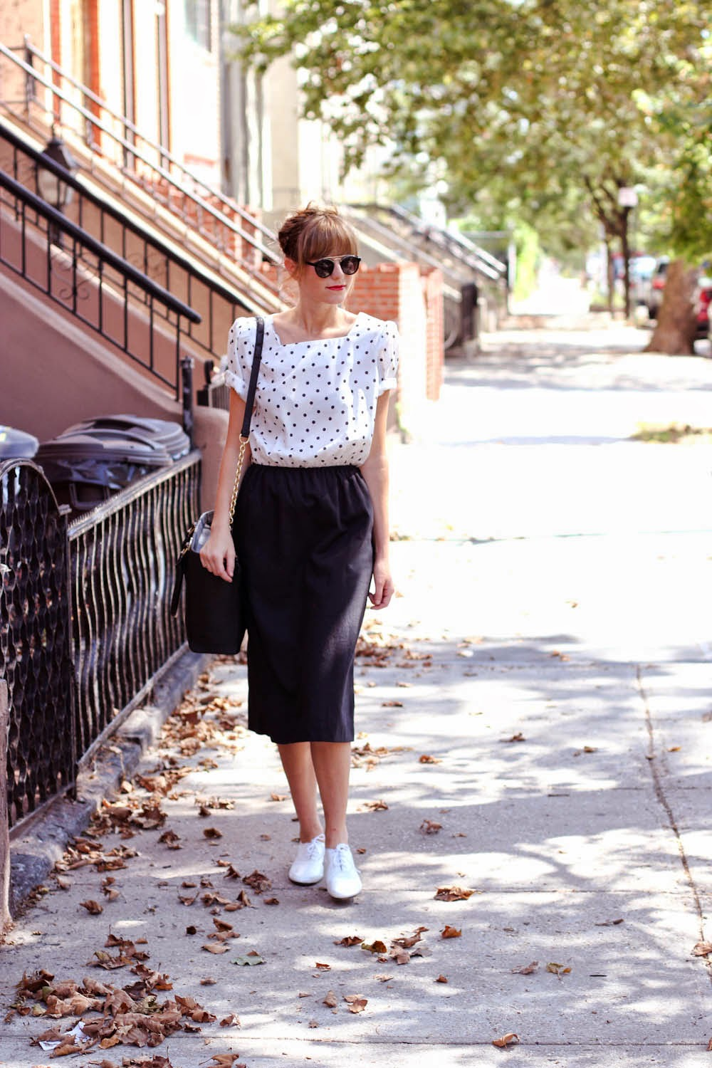 nyc vintage blog, polka dot vintage dress, zero uv sunglasses, dagne dover, clinton hill style