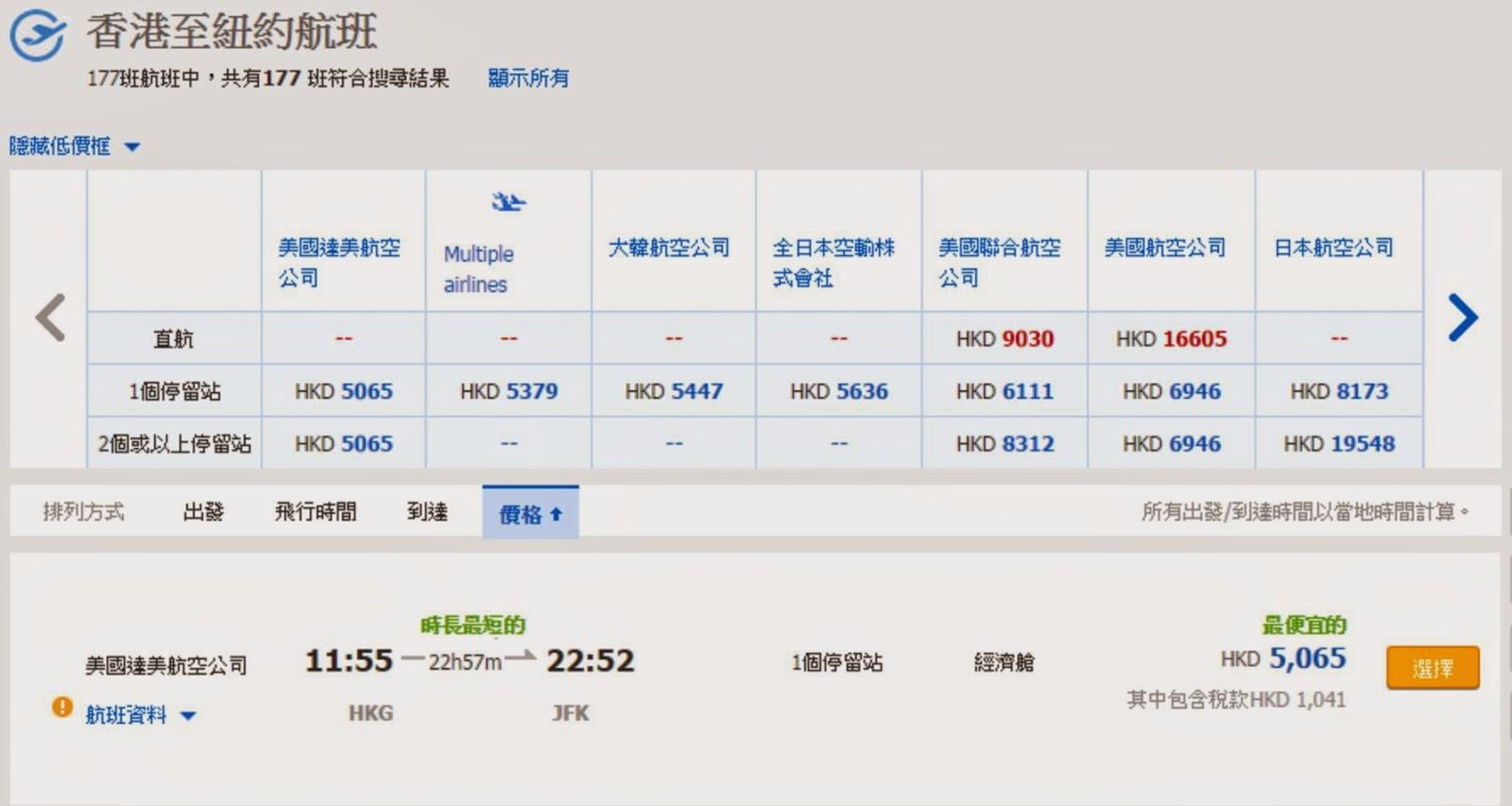 經西雅圖轉機,香港來回紐約,連稅$5,065
