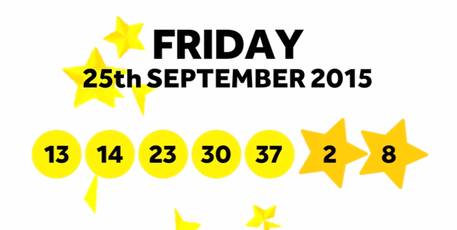 The National Lottery Friday 'EuroMillions' draw results from 25th September 2015 - 13,14,23,30,37 Lucky Stars 2, 8