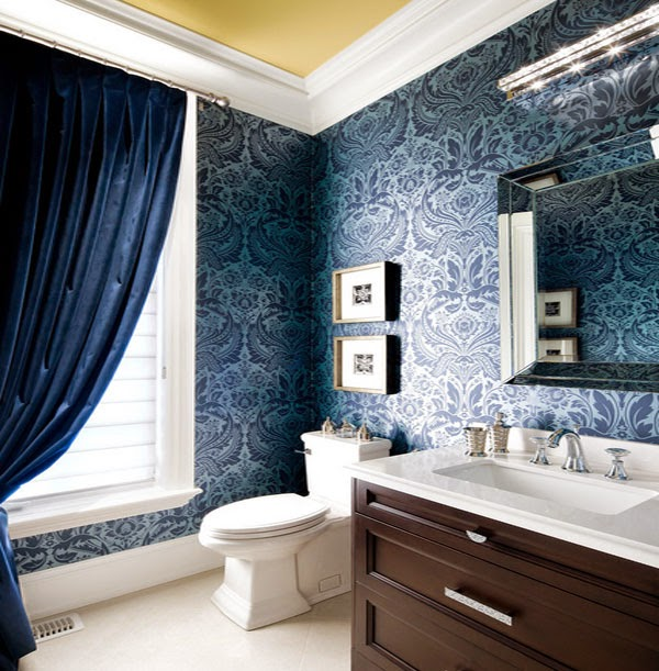 Reflecting pond cozy bathroom jane lockhart interior design applied dark blue curtain and patterned wallpaper decorated with darkwood vanity as appealing photo