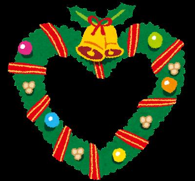 ハート型のクリスマスリースのイラスト