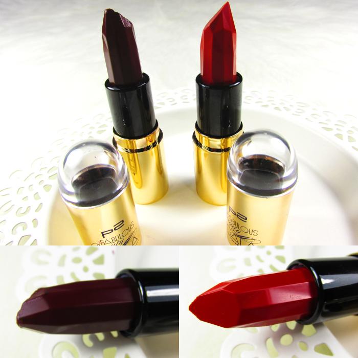 p2 Fabulous Beauty Gala - Glamouros Diva Lipstick in 020 posh red und 030 classy purple