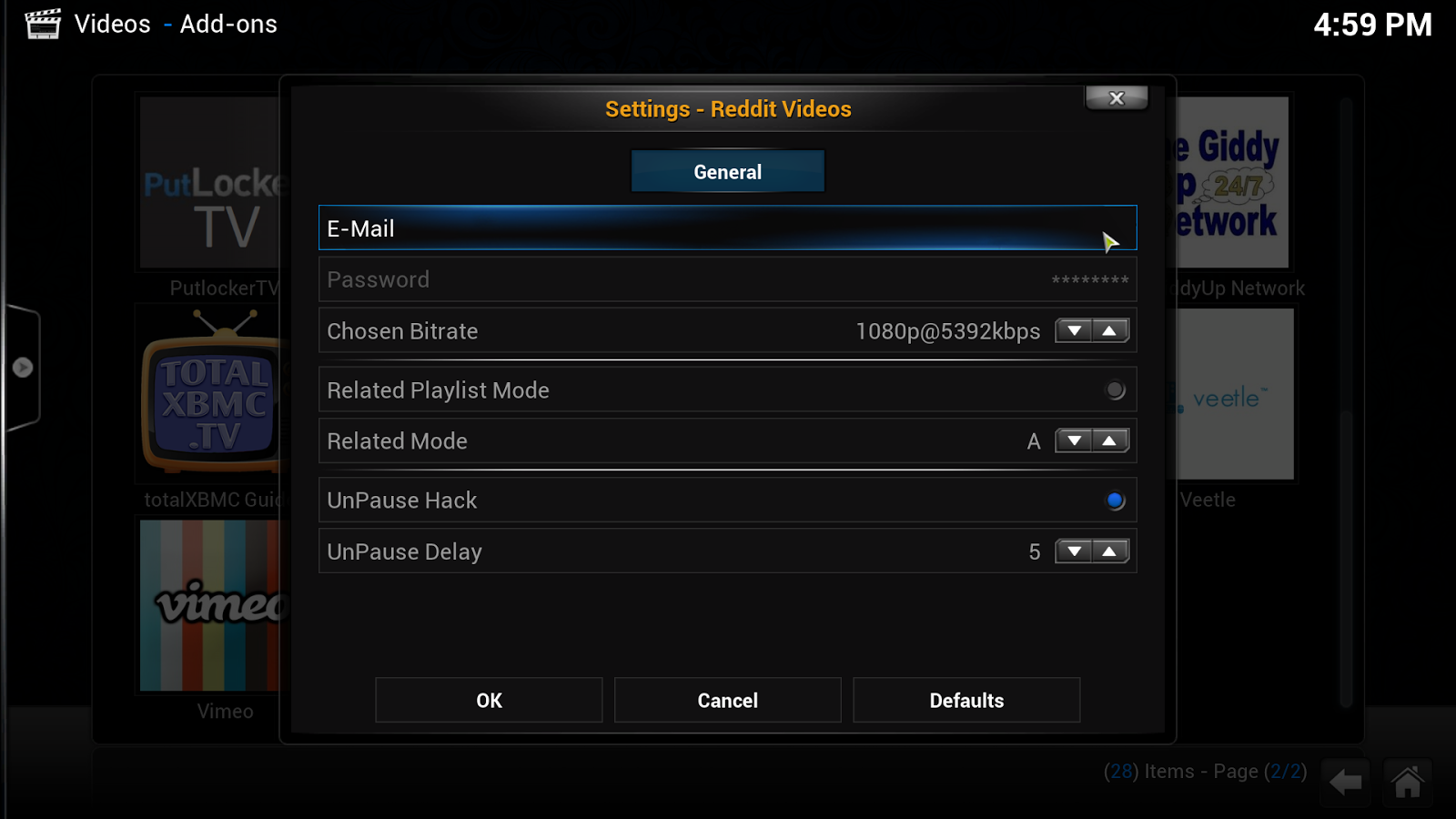 video add-on Reddit videos Xbmc email