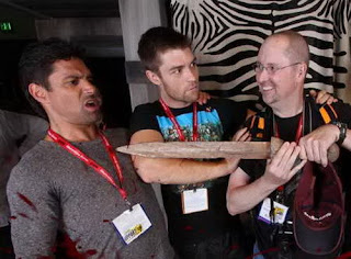 Manu Bennet, Liam McIntyre and Bruce Simmons at Comic-Con