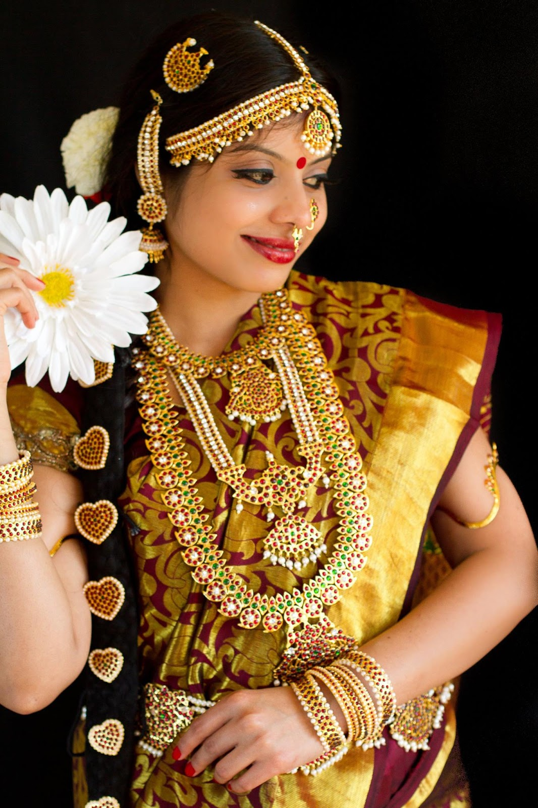 South Indian Bride, Bridal look, Redstone Jewelry, beautiful girl in Indian jewelry