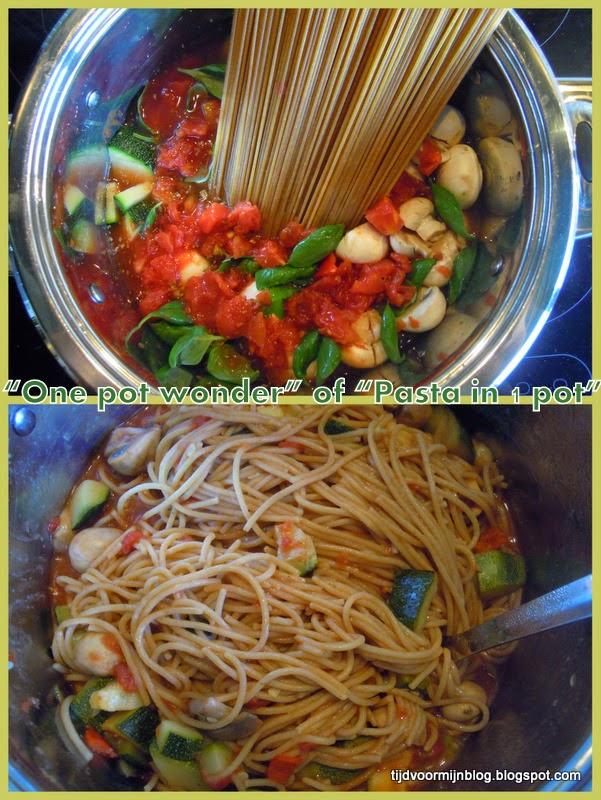 Alle ingrediënten voor pasta in één pot