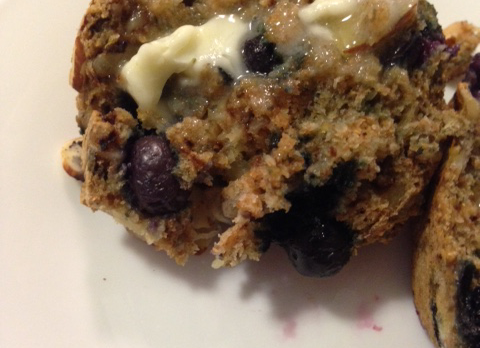 Nutty Banana-Blueberry Muffin