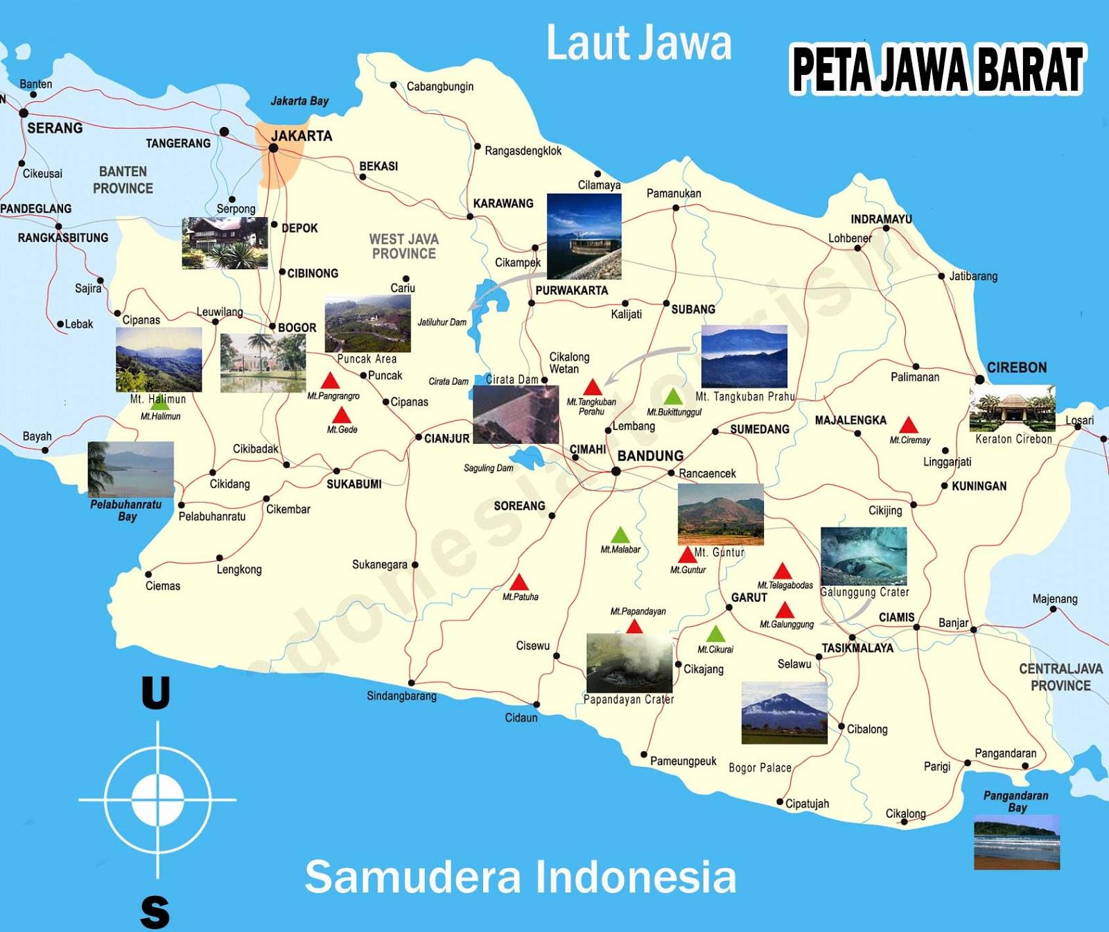 SEJARAH POPULER: Peta Jawa Barat lengkap dengan nama ...