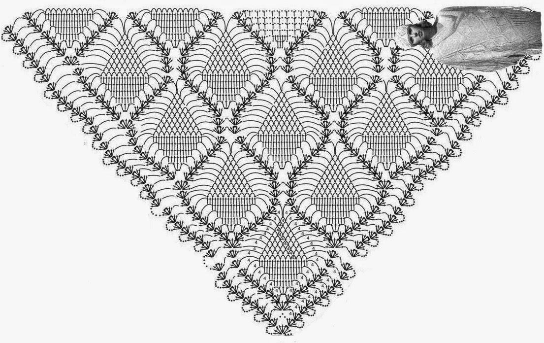 Подборка шалей крючком со схемами