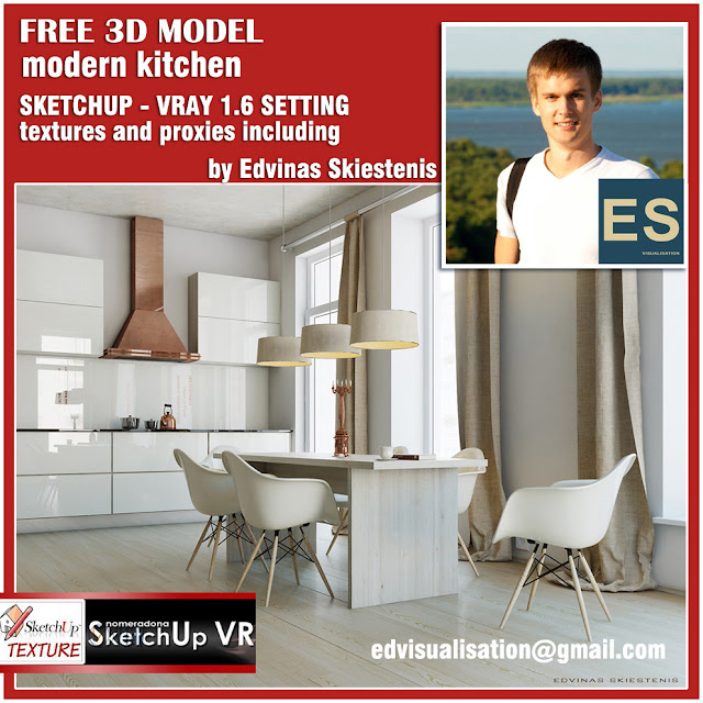 vray for sketchup 1.6 beta, sketchup model modern kitchen