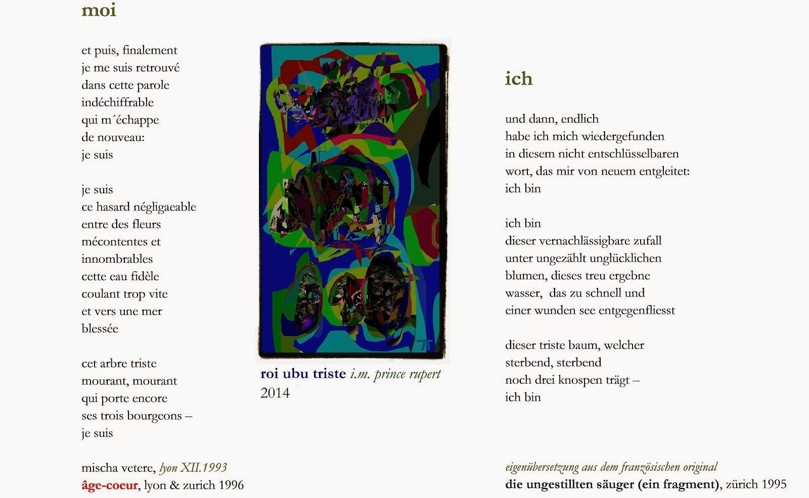 sputnik (von der läuterung),zürich XII 2008, PARIS I 2009, poème MOI gedicht ICH von 1993 âge-coeur