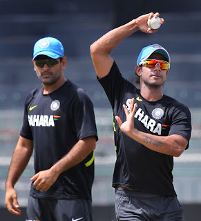 dhoni in practise