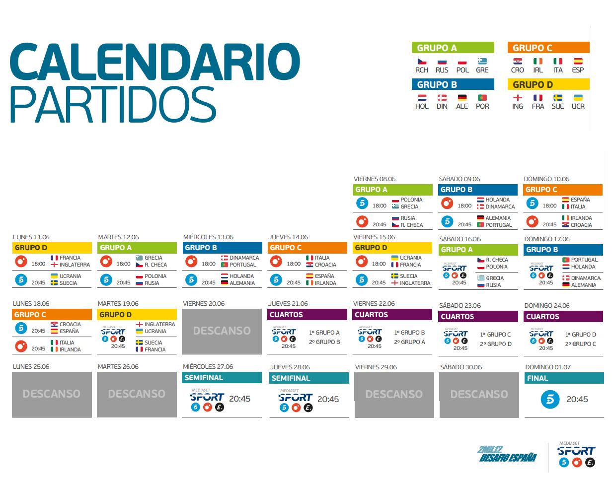 Calendario de la Eurocopa 2012