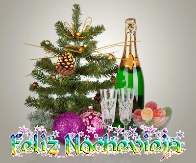 Feliz Nochevieja botellas con copas para brindar Año Nuevo
