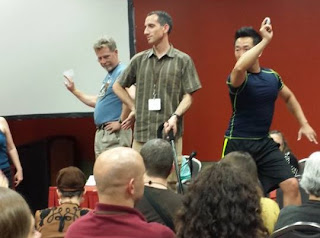 Steven Gould, Paul Benjamin, Wesley Chu at Worldcon 2013