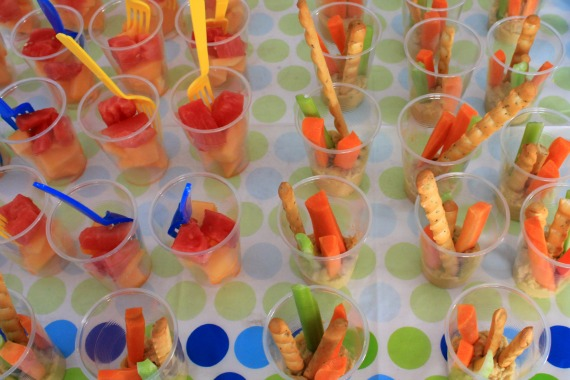 Melon salad and Vege sticks and hommus at Under the Sea first birthday via Love That Party. www.lovethatparty.com.au