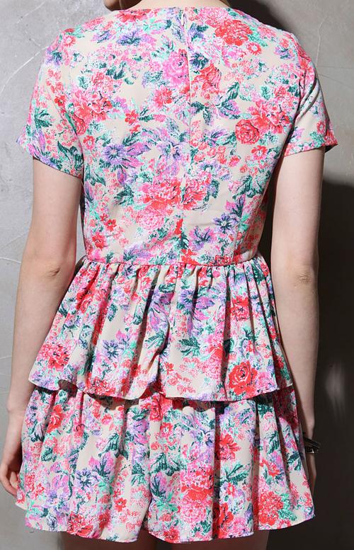 Tiered Bubble Hem Floral Dress