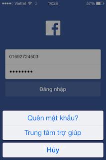 Cánh lấy lại mật khẩu Facebook