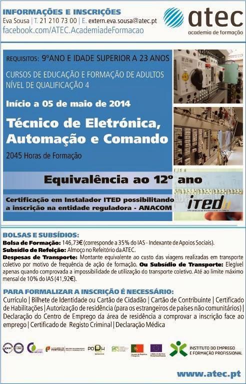 Curso efa remunerado: Eletrónica, Automação e Comando – Palmela (equivalente ao 12º ano)