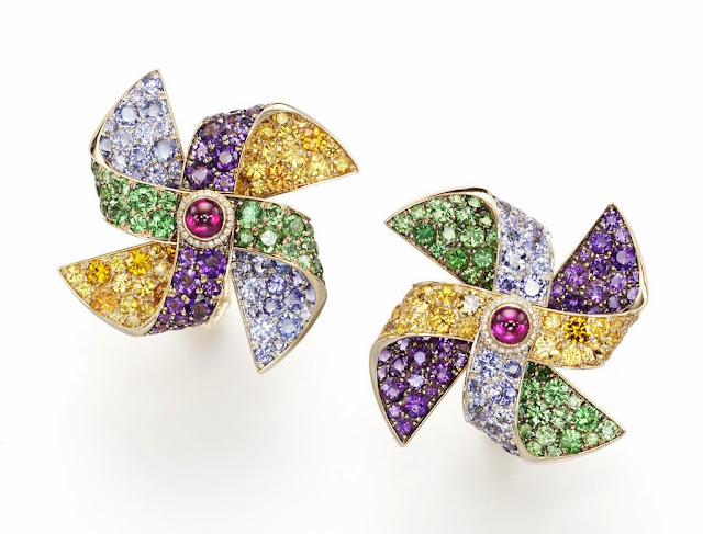 Suzanne Syz Girouettes earrings: ruby, tsavorite, tanzanite, orange sapphire, pink tourmaline, amethyst and diamonds set in rose gold