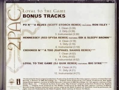 2pac loyal to the game bonus tracks promo cd single 2004