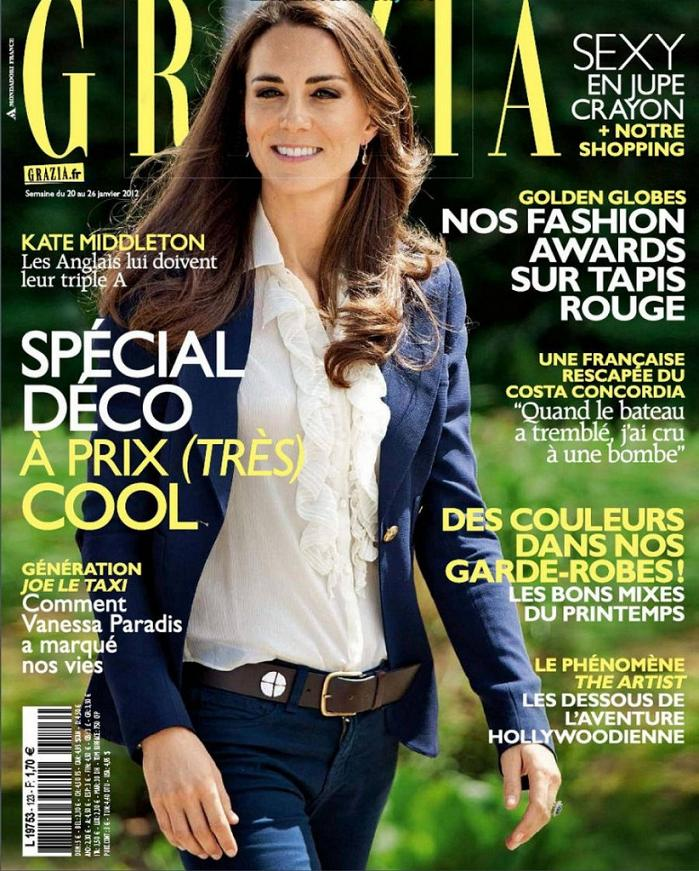 Kate Middleton features on the cover of Grazia France, January 2012