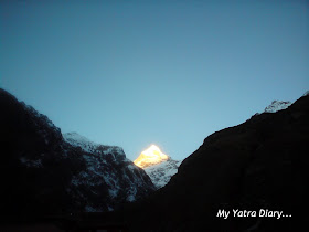The glowing Neelkanth peak in the Garhwal Himalayas, Uttarakhand   during sunrise