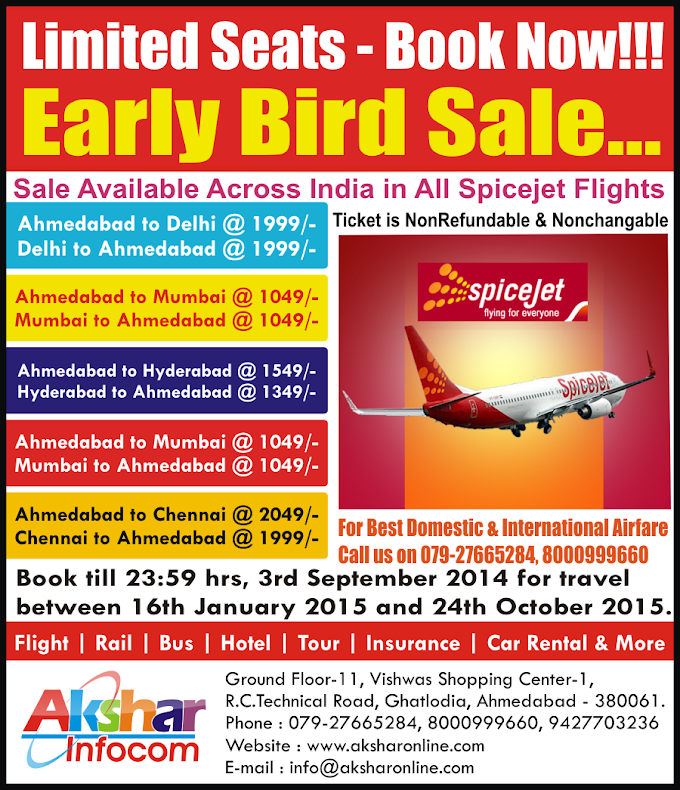 Spicejet Early Bird Sale..Book Now!!! LIMITED SEATS AVAILABLE Book Now!!!