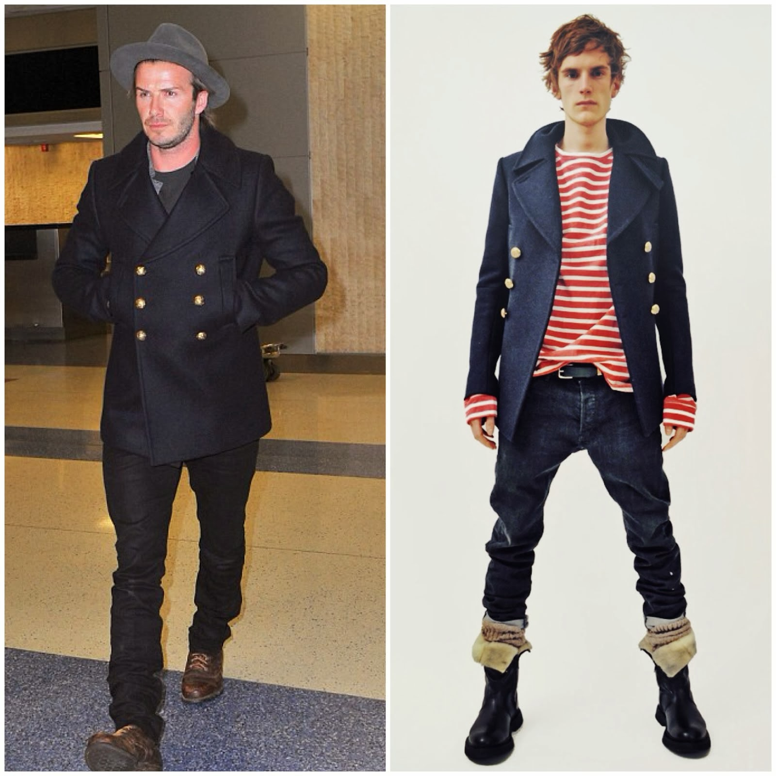 00O00 Menswear Blog: David Beckham in Balmain gold button pea coat - JFK Airport, New York