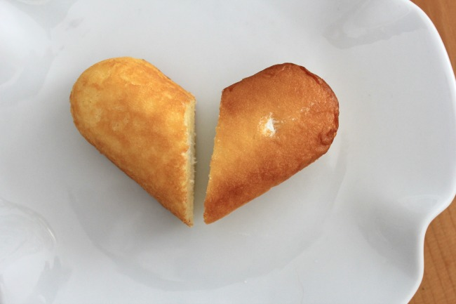 One Twinkie in the shape of a heart.