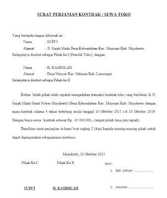 Contoh Surat Perjanjian Kontrak Rumah Toko Atau Kontak