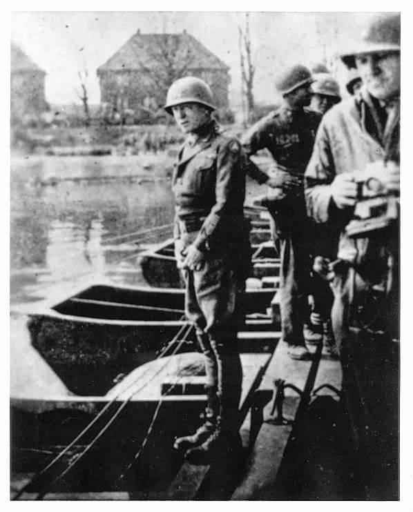 Patton peeing in the rhine river