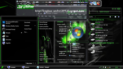 TEMA WINDOWS 7 TOXIC GREEN V2