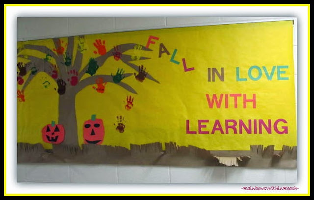 Bulletin Board: Fall in Love with Reading {Hand Print RoundUP at RainbowsWithinReach}