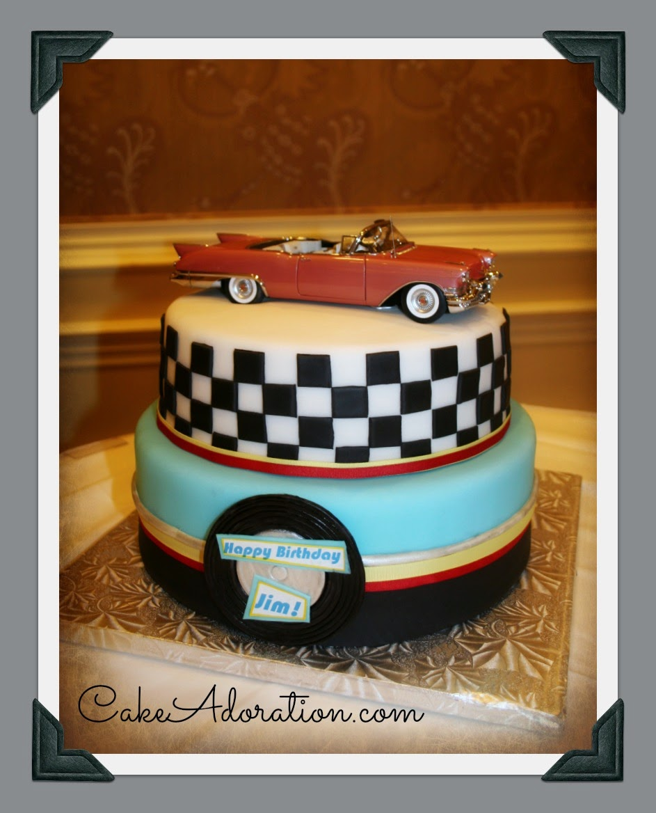 1950 S Checkered Diner Theme Cake
