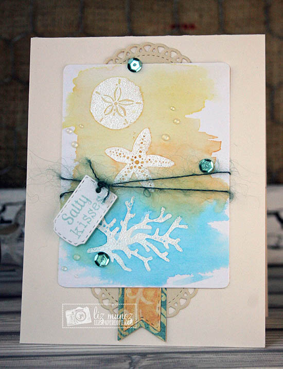 Salty Kisses beach card by Liz Munoz | Tranquil Tides Stamp Set by Newton's Nook Designs #sea #ocean #nautical