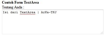 Contoh Form Type TextAre di HTML