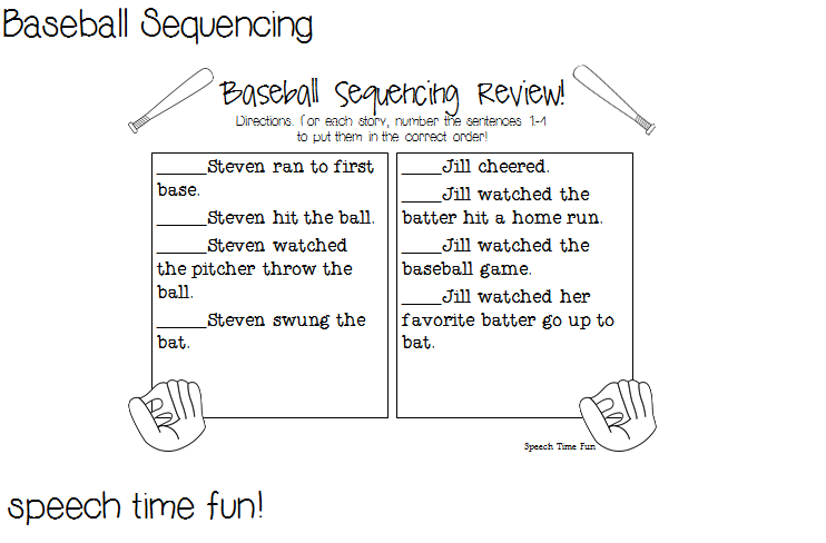 2 Baseball Themed Activities PLUS A FREEBIE Sequencing – Baseball Worksheets