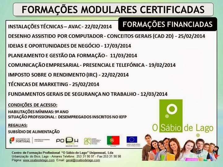 Formações modulares certificadas e subsidiadas em Amares (Braga) 2014
