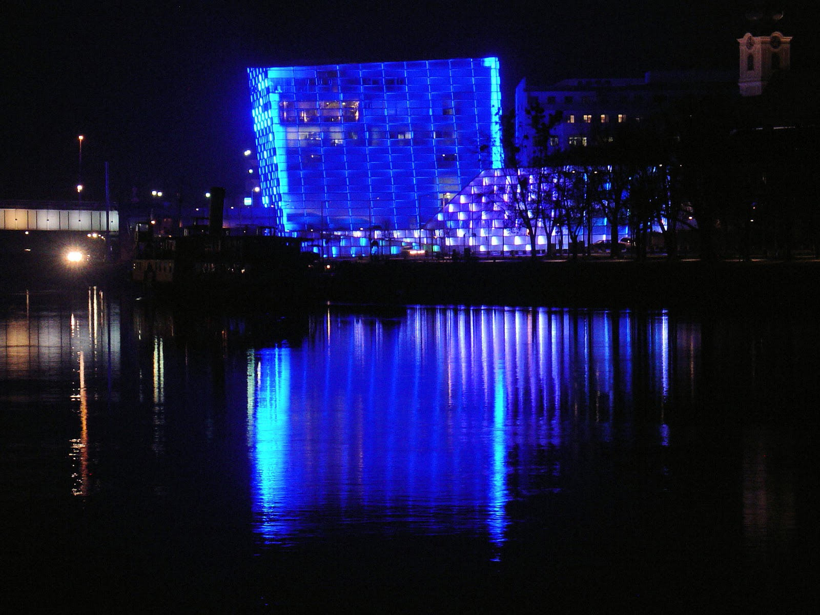 The Institute of Computer Graphics in Linz, Austria, was a dazzling display of neon light.