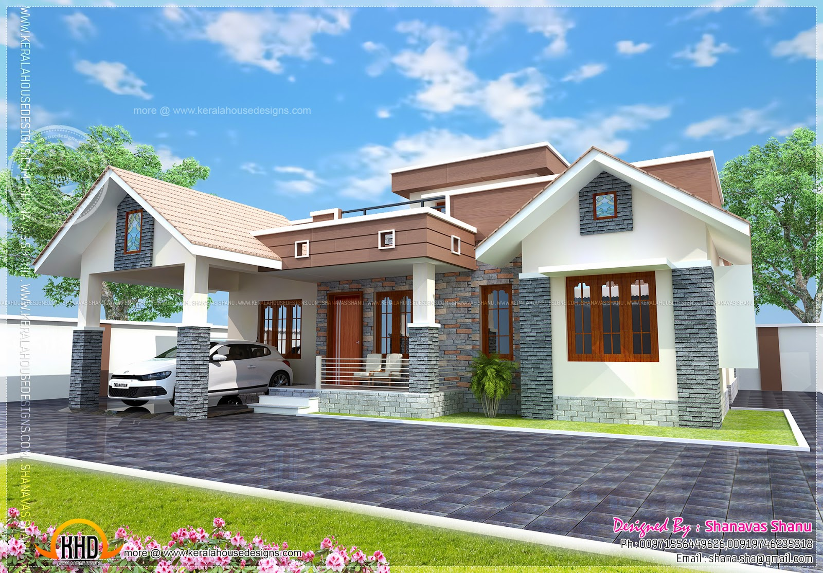 Small single floor house with floor plan kerala home for Single floor house elevations indian style
